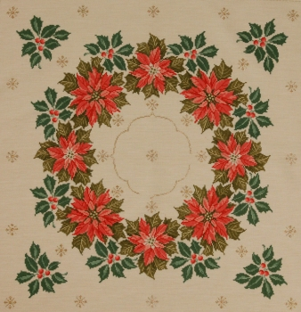 Poinsettias (white cloth, unhemmed)