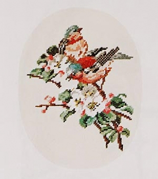 Bullfinches - background not embroidered
