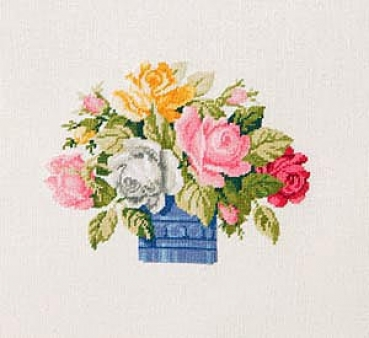 Vase with Brightly Coloured Roses